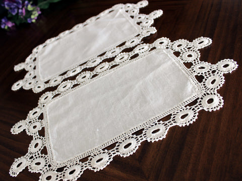 2 Crocheted Table Linens, Crochet Edged Doilies, Antique White 13728