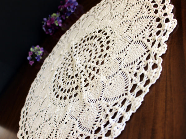 Large Doily, Crochet Topper, Pale Cream Crocheted Centerpiece, Vintage Table Cover 13768