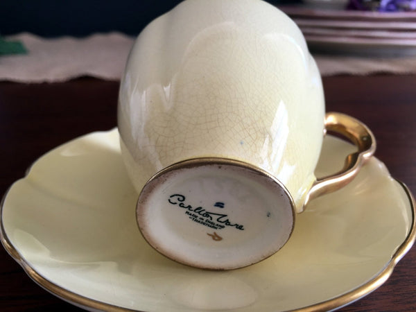 Carlton Ware Demitasse Teacup and Saucer, English Tea Cup with Gold Interior 13816