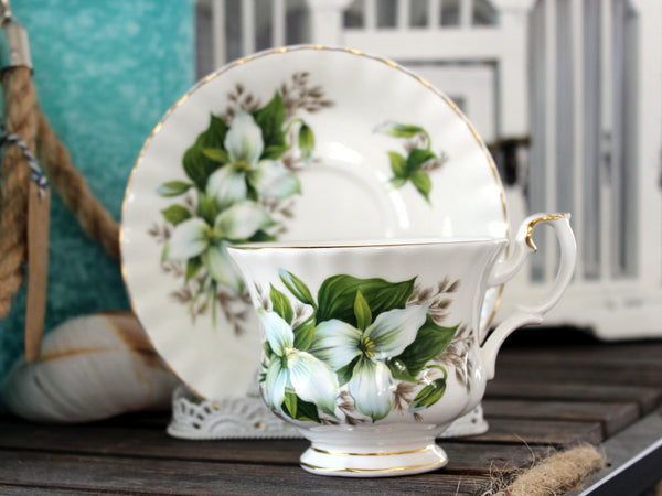 Royal Albert Trillium, Cup and Saucer, Floral Teacup, English Bone China 13944