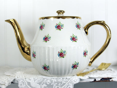 Arthur Wood Tea Pot, Rosebud Chintz, Vintage Teapot, Pink Roses, Heavy Gilding 13984 - The Vintage Teacup