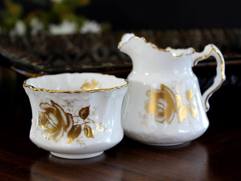 Hammersley Creamer and Open Sugar Bowl, Golden Glory 14014