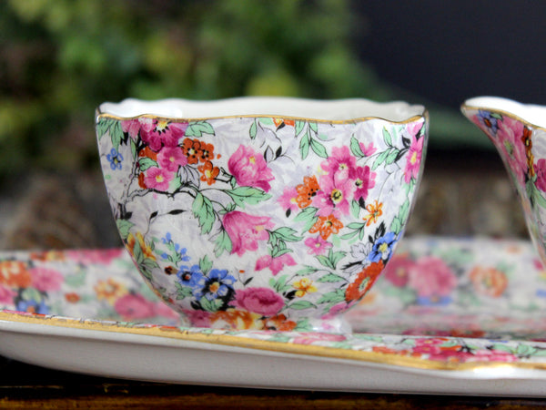 Antique Lord Nelson Ware, BCM, Marina Chintz, Sugar, Creamer and Tray 14025 - The Vintage Teacup