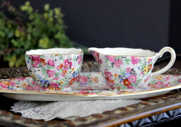 Antique Lord Nelson Ware, BCM, Marina Chintz, Sugar, Creamer and Tray 14025
