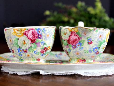 Antique Lord Nelson Ware, BCM, Rose Time Chintz, Sugar, Creamer and Tray 14034 - The Vintage Teacup