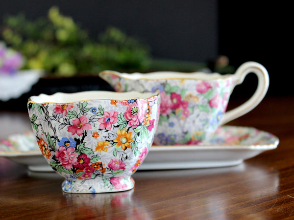 Antique Lord Nelson Ware, BCM, Marina Chintz, Sugar, Creamer and Tray 14057 - The Vintage Teacup