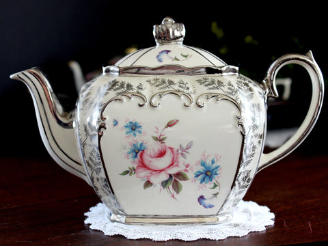 Sadler Cubed Teapot, c1930's Classic Sadler Tea Pot, Silver Trim, Fern Chintz, Pink Rose 14084