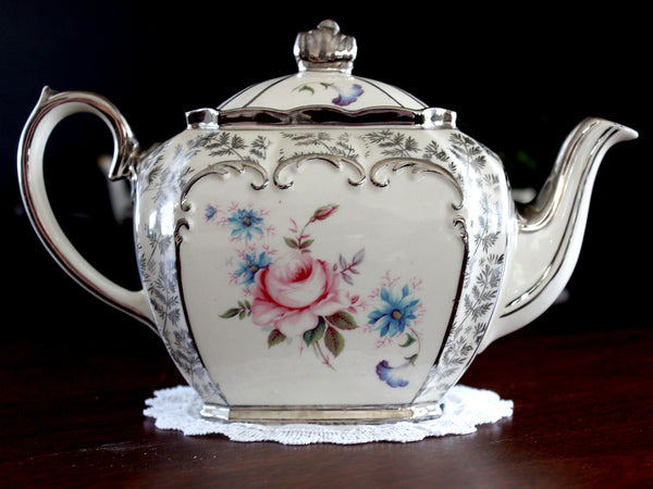 Sadler Cubed Teapot, c1930's Classic Sadler Tea Pot, Silver Trim, Fern Chintz, Pink Rose 14084 - The Vintage Teacup