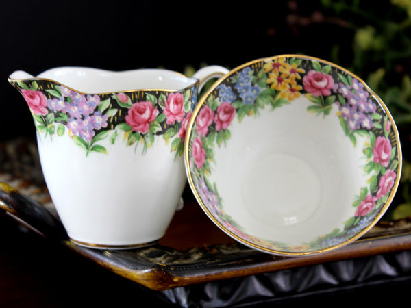 Creamer and Sugar Bowl, Paragon Bone China, Old English Garden  14108