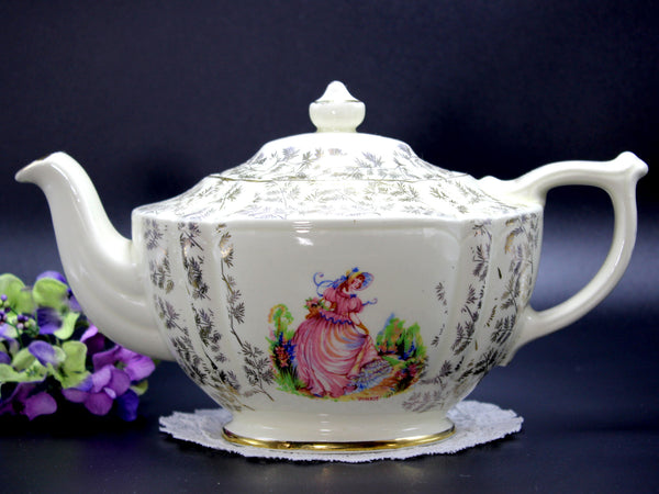 DAMAGED Sadler Pinkie Teapot, 4 cup Tea Pot, Gilt Fern Chintz Work 14176