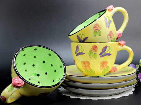 3 Cups and Saucers, Matching Teacup Sets, Polka Dot, Yellow & Green, Rose Handles 14178