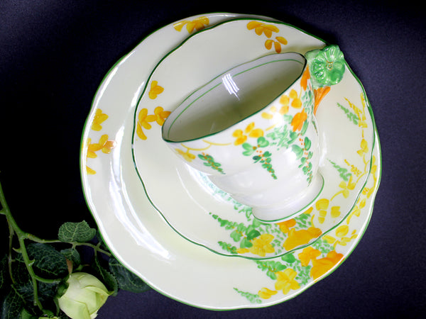Lawley Trio Teacup, Flower Handle Tea Cup, Saucer & Side Plate, Art Deco English China 14220 - The Vintage Teacup