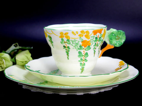 Lawley Trio Teacup, Flower Handle Tea Cup, Saucer & Side Plate, Art Deco English China 14220