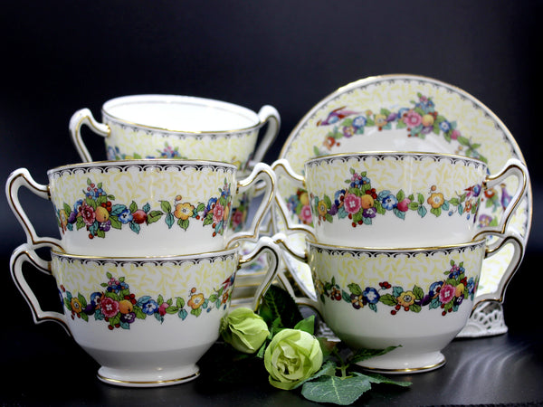 Staffordshire Antique Cups and Saucers, China Boullion Cups Set of 6 -  14223