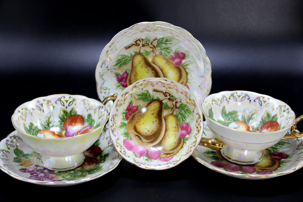 Opalescent Teacups, 3 Pearlized Tea Cups and Saucers, Fruit Motif Mixed 14226