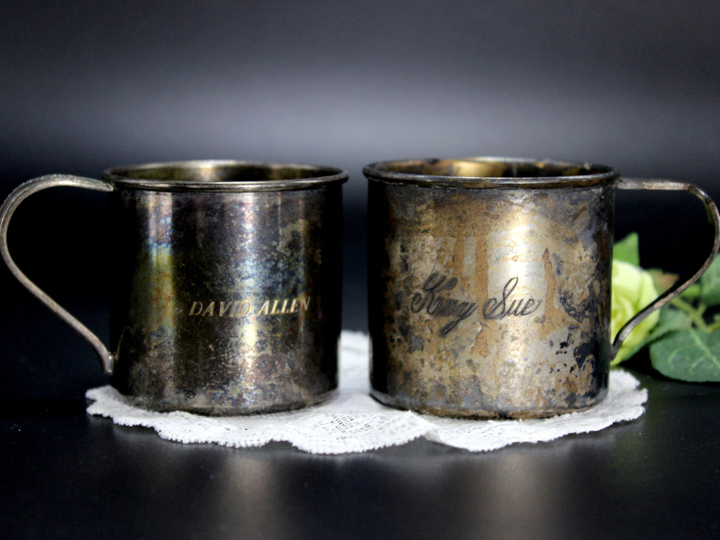 2 Antique Children's Silverplate, Engraved Mugs, Community & Rogers Silver Plated Cups 14329 - The Vintage Teacup