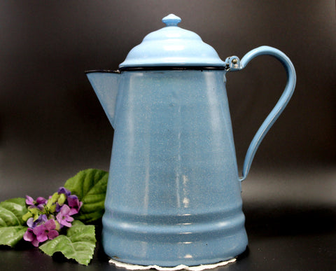 Large Vintage Blue Speckle Enamelware, Granite Ware Coffee Pot, Hinged Lid 14240 - The Vintage Teacup