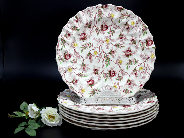 "Copeland Spode Set of 7, Rosebud Chintz 8"" Side Plates, Made in England 14251"