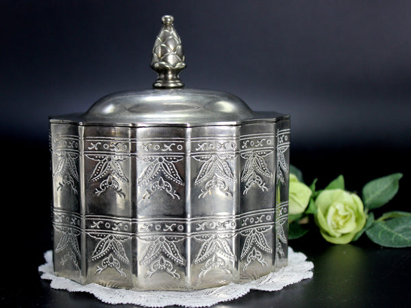Silverplate Godinger Reproduction, Lidded Trinket Box, 1980s Jewelry Box 14256