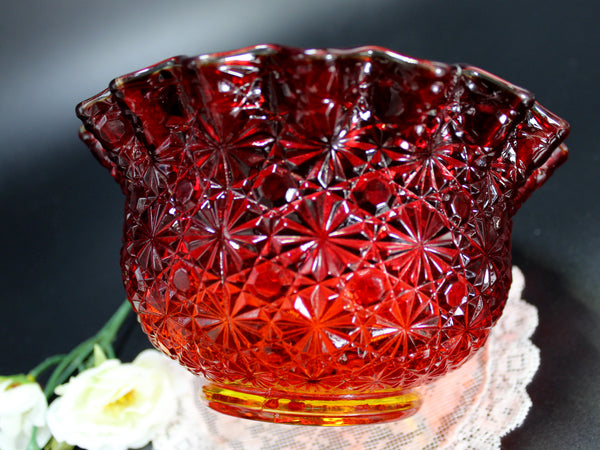 Small Amberina Bowl, Serving Dish, L.E. Smith Glass Daisy & Button 14263