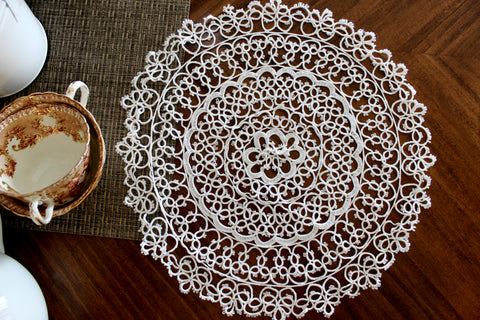 Tatted White Doily, Vintage Doilies, Hand Made Lacy Round 14283