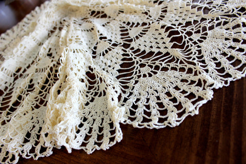 Large Crochet Topper, Large Crocheted Centerpiece, Cream Table Cover 14284