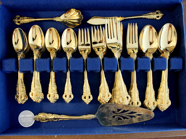 Goldtone Flatware, 75 Piece, Gold Tone Flat Ware Lot, Utensils, Vintage Cutlery 14285