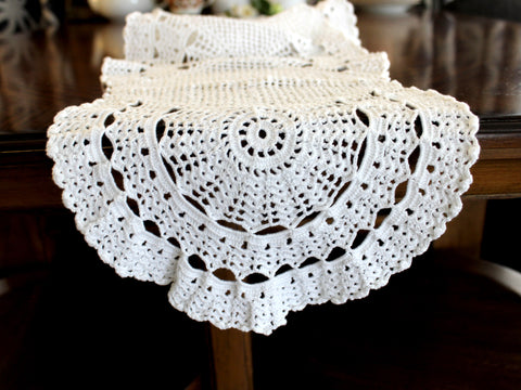 Copy of Crocheted Table Runner, White Table Scarf, Vintage Table Linens 14301