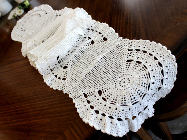 Crocheted Table Runner, White Table Scarf, Vintage Table Linens 14301 - The Vintage Teacup