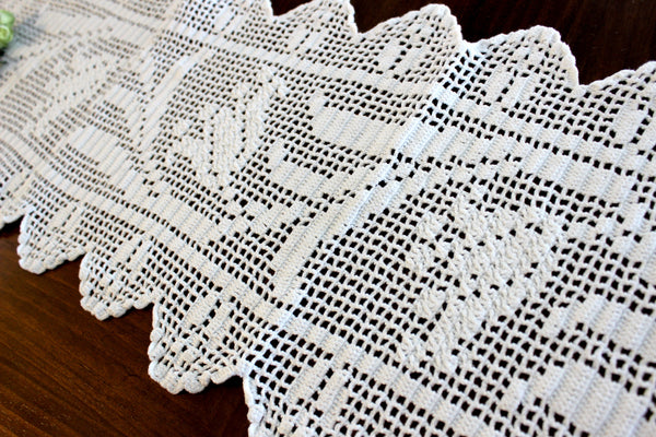 Long Crocheted Table Runner, White Table Scarf, Vintage Table Linens, Handmade 14306 - The Vintage Teacup