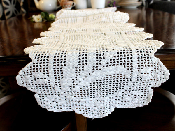 Long Crocheted Table Runner, White Table Scarf, Vintage Table Linens, Handmade 14306