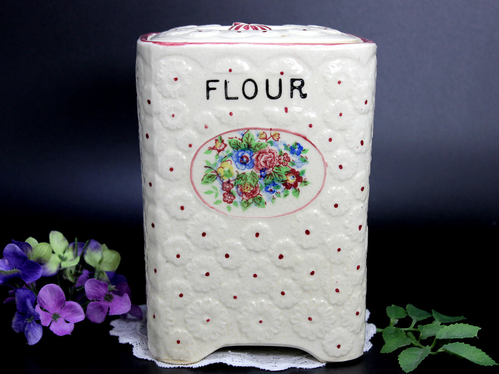 Antique Flour Canister, Quilted Mold Flour Container, Made in Japan 14320