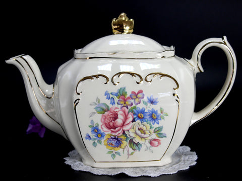 Sadler Cube Shaped Teapot, Pink and Yellow Tea Pot, Roses & Scroll Gilding 14338