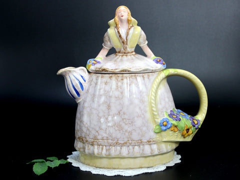 Royal Crown Germany Figural Teapot Half Doll Lady Milk Maid - Vintage Tea Pot 14354