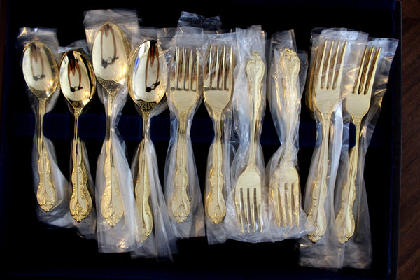 Goldtone Flatware, Gold Tone Flat Ware Lot, International China Cutlery 14361