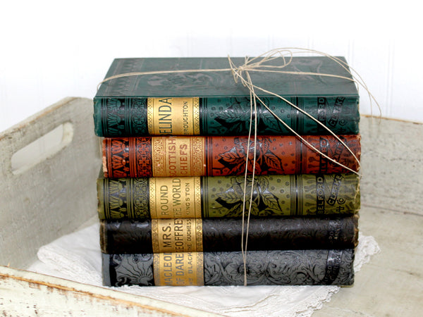 Antique Book Stack, Chicago, Belford, Clarke & Co, c1800s, Caxton Editions, Decor 14369 - The Vintage Teacup