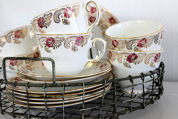Royal Stuart Dessert Set, Tea Cups, Saucers & Side Plates, Hand Painted China 14372