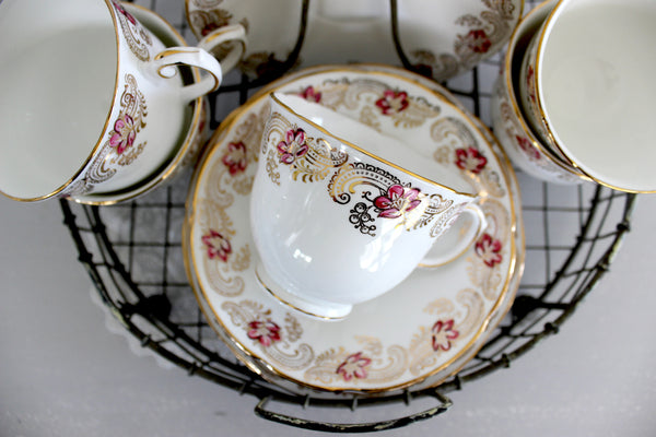 Royal Stuart Dessert Set, Tea Cups, Saucers & Side Plates, Hand Painted China 14372 - The Vintage Teacup