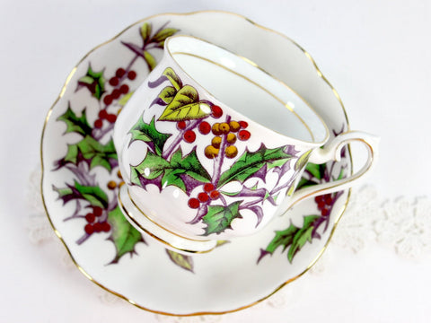 Royal Albert Holly, Tea Cup and Saucer, Flowers of the Month, Christmas Teacups 14706 - The Vintage Teacup