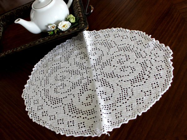 Large Crochet Doily, Large Crocheted Centerpiece, Medium Weight Thread in White 14441