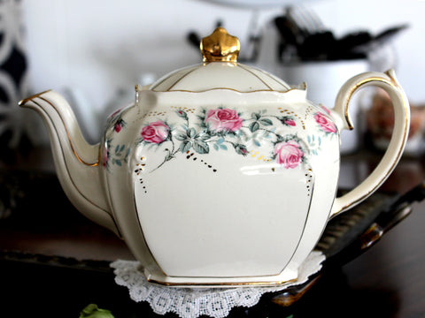 Sadler Cube Teapot, Pink Rose Banding, 1930s Sadler Tea Pot, Made in England 14468