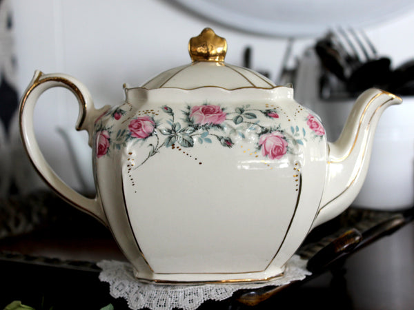 Sadler Cube Teapot, Pink Rose Banding, 1930s Sadler Tea Pot, Made in England 14468 - The Vintage Teacup