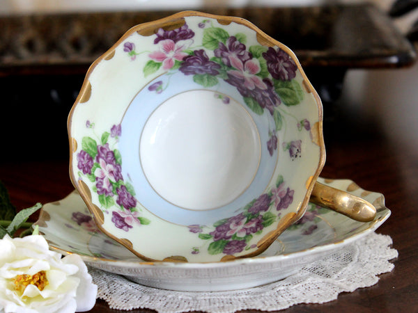 Tea Cup and Saucer, Hand Painted, Vintage Lefton Teacup, Minty Green & Blue 14473