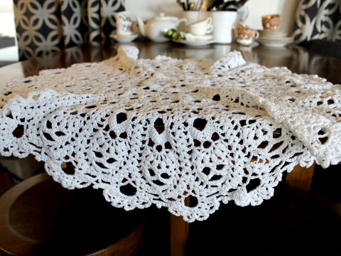 Large Crochet Table Topper, Chunky Crocheted Centerpiece, Handmade Linens 14481