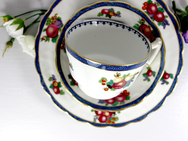 Vintage Tea Cup, Plate & Saucer, Booths Lowestoft Border, Trio with Fruit Motif 14532 - The Vintage Teacup