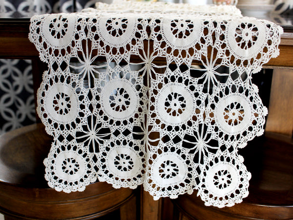 Crocheted Table Runner, Off White Table Scarf, Vintage Table Linens, Handmade 14569