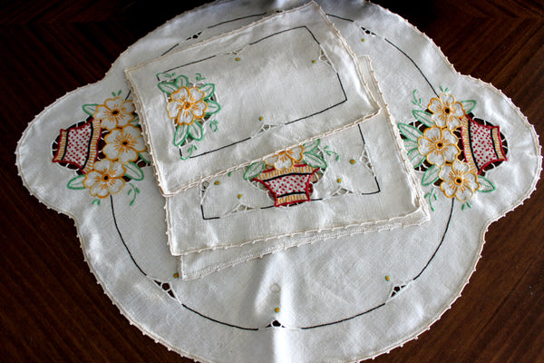 Embroidered Table Runners and Doilies, Light Ecru Linen Table Dresser Set 14598 - The Vintage Teacup