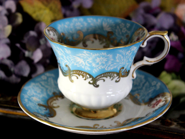 Paragon Trenton, Aqua Teacup and Saucer, English Bone China Tea Cup