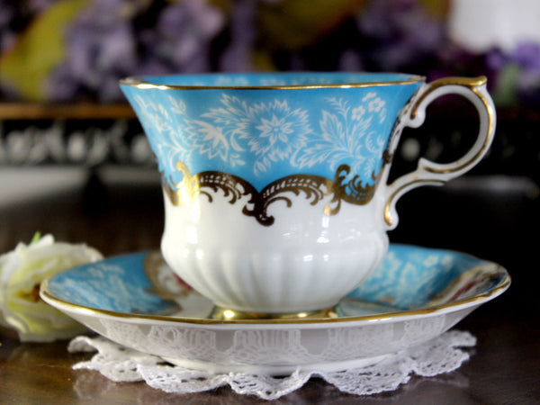 Paragon Trenton, Teal Teacup and Saucer, English Bone China Tea Cup 16363