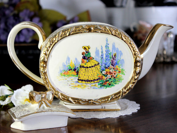 Barrel Sadler Tea Pot, Vintage Footed Sadler, Bow Handle, Oval Teapot, Crinoline Lady 14795 - The Vintage Teacup
